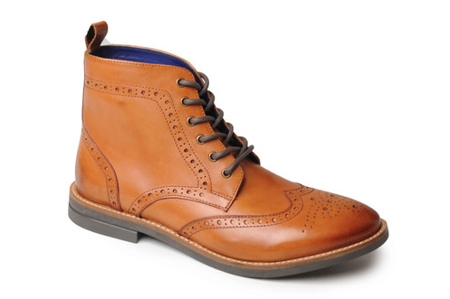 7e4b85fa45d Catesby Mens Leather Brogue Ankle Boot