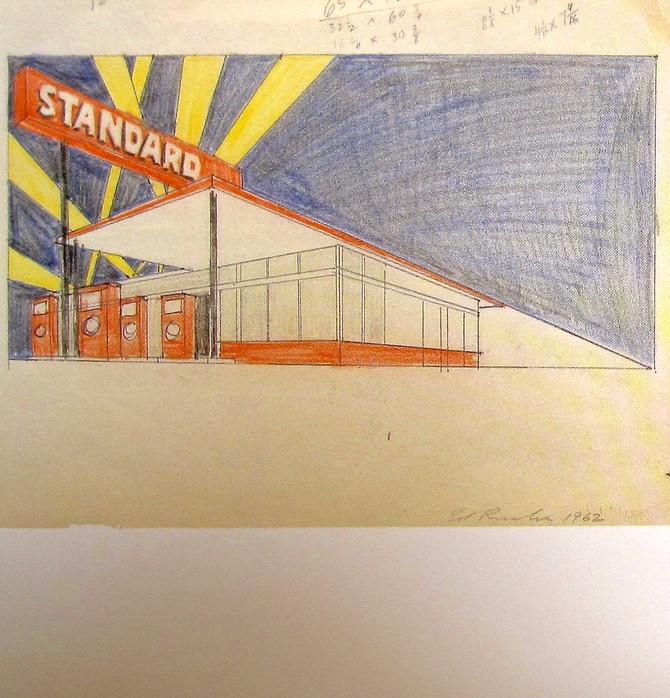 "Edward Ruscha ""Study for Standard Station, Amarillo, Texas"" 1962"