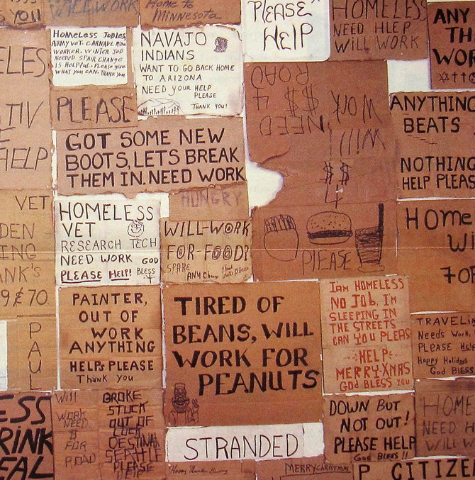 Signs Acquired (Purchased) from Homeless People, 1993 (photo by Richard Ross)