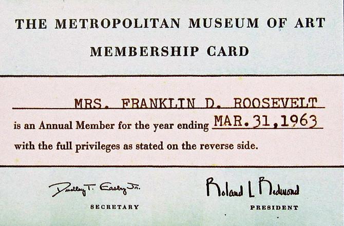 Eleanor Roosevelt's Met Membership Card (Franklin D. Roosevelt Presidential Library)