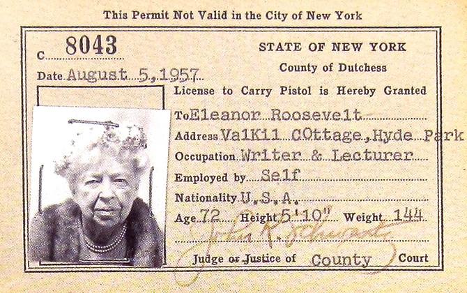 Eleanor Roosevelt's Pistol Permit (Franklin D. Roosevelt Presidential Library)