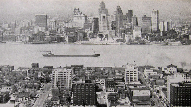 Detroit viewed from Windsor, Ontario, 1950s