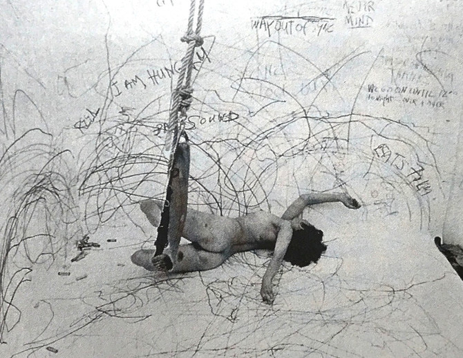 "Carolee Schneemann ""Up to and Including Her Limits"" 1976"