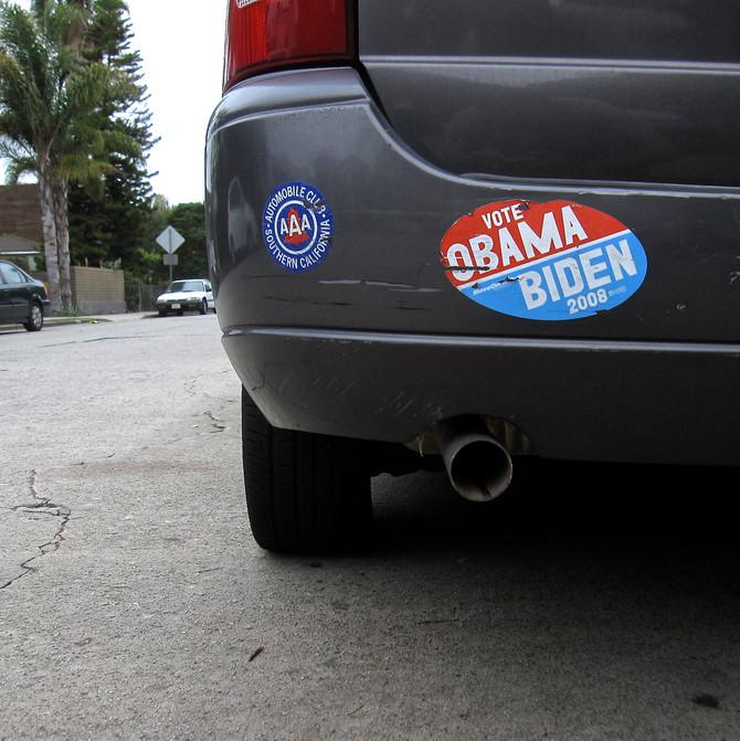 Obama-Biden Bumper Sticker, Venice, California, 2014 (photo by Greg Colson)