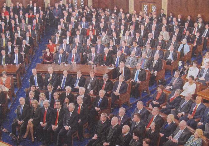 U.S. Congress during President Trump's address, February 2017 (photo by Mandel Ngan)