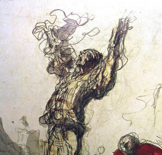 "Honore Daumier ""Street Show (Paillasse)"" detail"