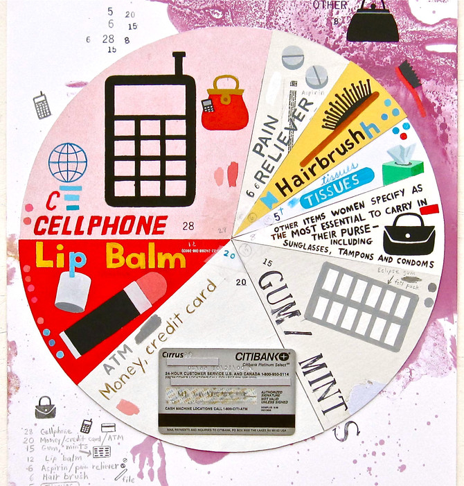 """Greg Colson """"Purse Essentials"""" pie chart drawing at Thomas Park Gallery"""