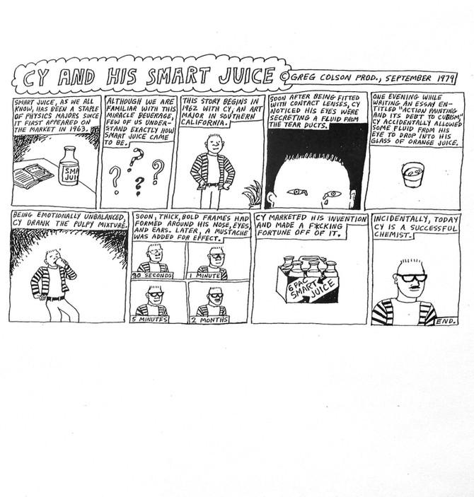 """CY AND HIS SMART JUICE"" Greg Colson 1979 cartoon"