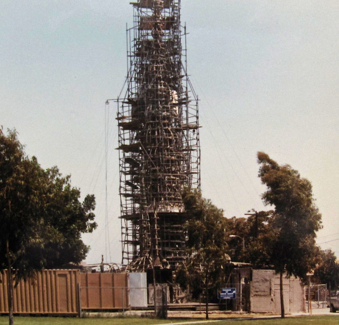 Watts Towers Repair, Los Angeles, 1984 (photo by Greg Colson)