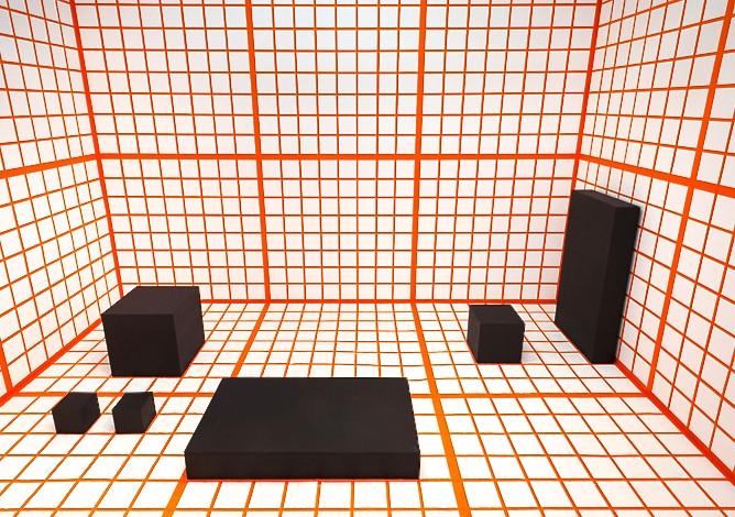 """Channa Horwitz """"Orange Grid"""" 2013"""