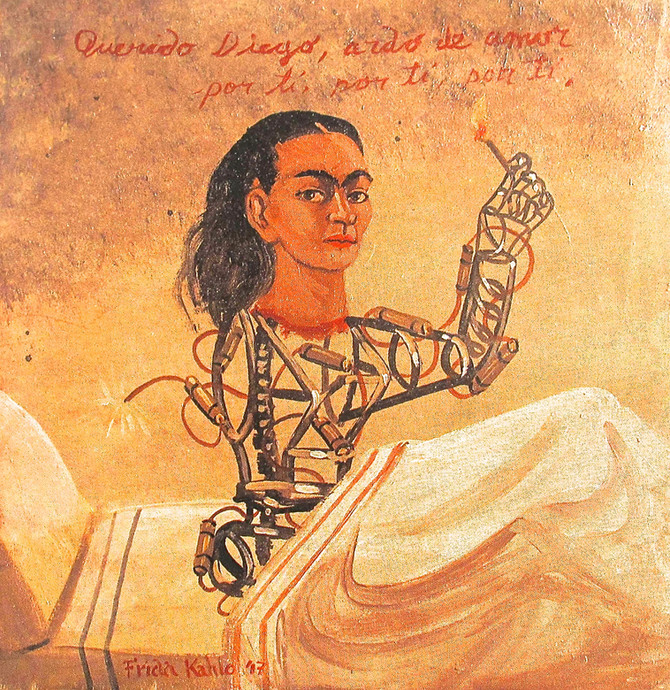 "Frida Kahlo ""Dear Diego, I Burn from Love for You"" 1947"