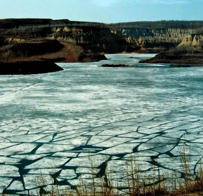 Ice Thaw in Abandoned Iron Mine, Mesabi Range near Hibbing, Minnesota, 1989 (photo by Greg Colson)