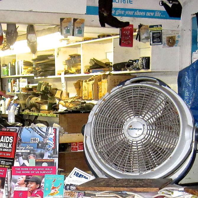 Fan in Shoe Repair Shop, Venice Beach, 2015 (photo by Greg Colson)