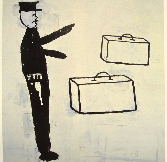 """Donald Baechler """"Policeman With Two Suitcases"""" 1985"""