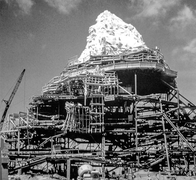 Matterhorn Construction at Disneyland, Anaheim, California, 1959
