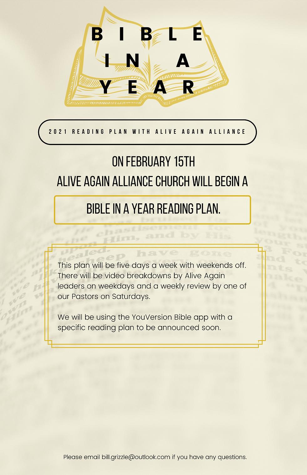 On February 15th - Alive Again will begi