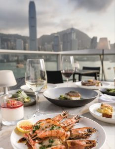 Soaking up the views at Harbourside Grill.