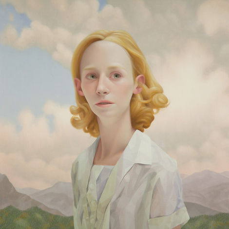 Lu Cong, Listening for Foxes, oil on wood, 36 inches by 36 inches, 2014