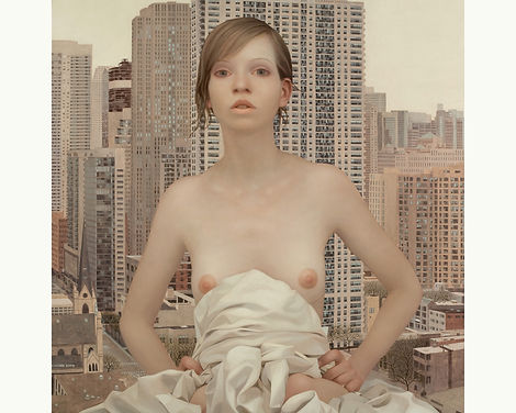 Lu Cong, Chicago, oil on wood, 48 inches by 48 inches, 2009