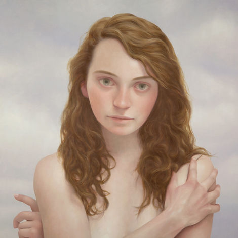 Lu Cong, Julia #2, oil on wood, 30 inches by 30 inches, 2015
