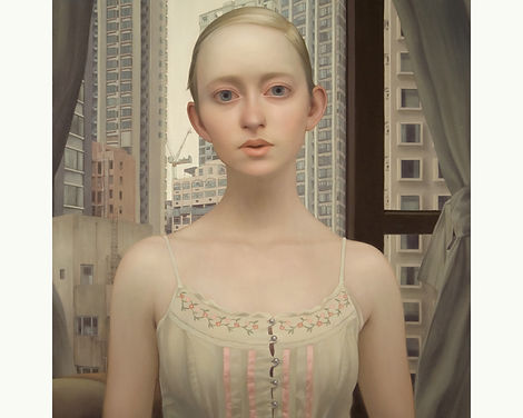 Lu Cong, The Girl Who Finds You Here, oil on wood, 36 inches by 36 inches, 2009
