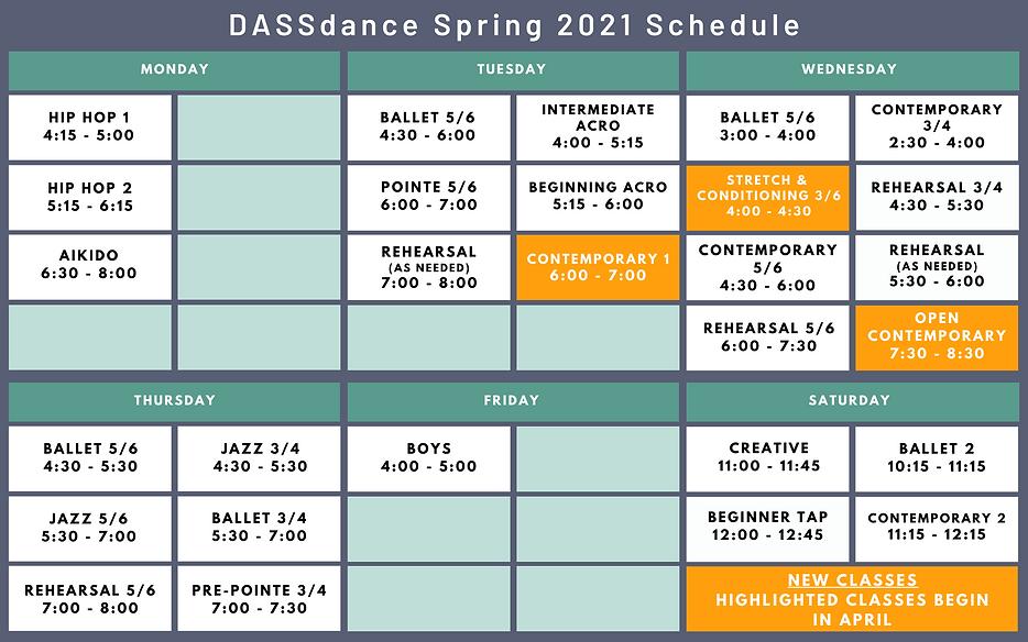 Spring 2021 DASSdance Studio Schedule Up
