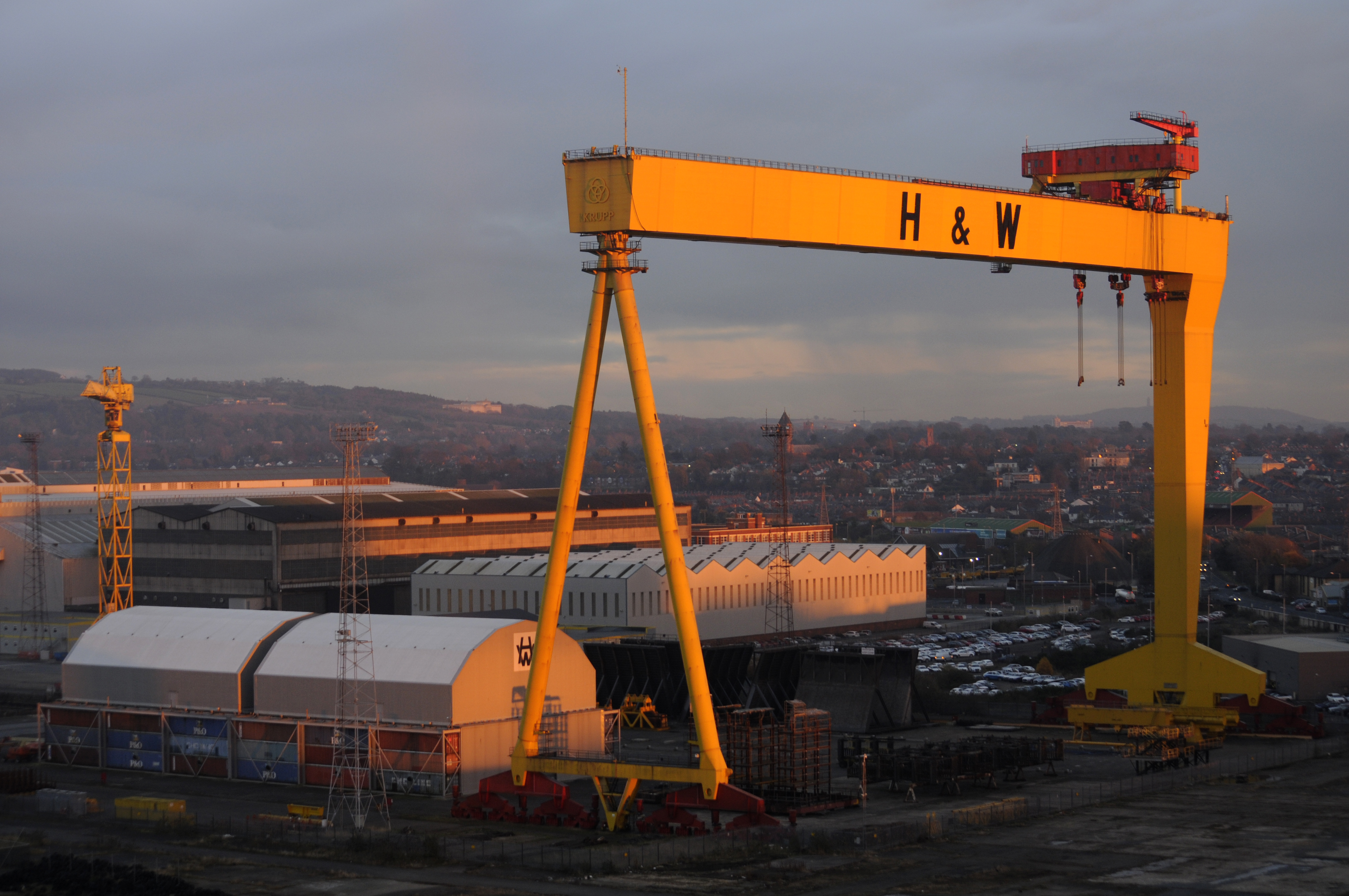 Harland & Wolff Crane at Sunset