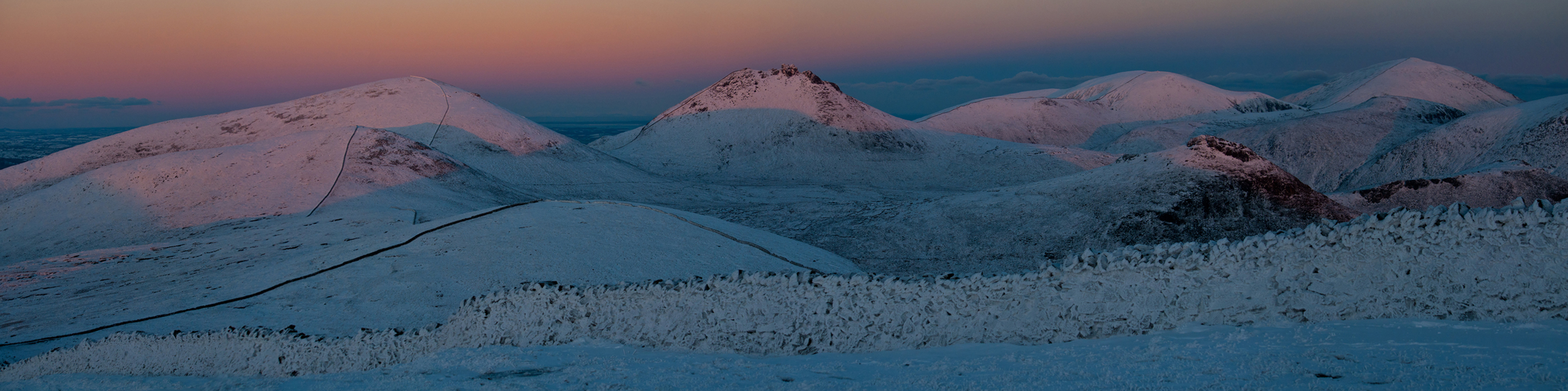 Alpenglow over the High Mournes