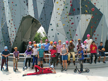 REACH group standing in front of Maggie Daley Park climbing wall in Chicago