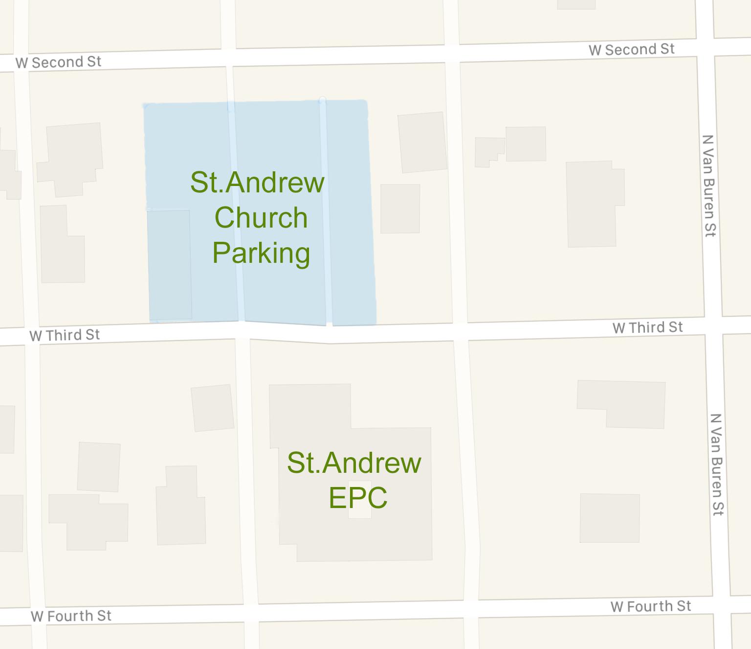 parking lot st andrew presbyterian church in auburn indiana
