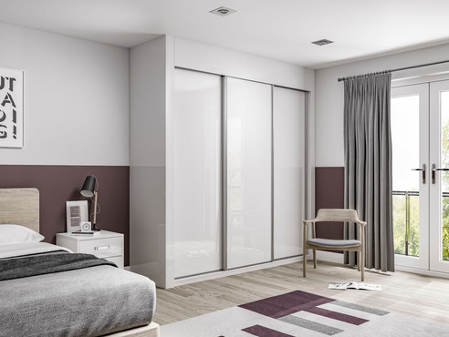 5 Glide White Glass Full Door with Gloss