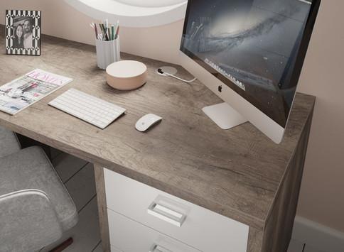 Home Office Dark Oak & Gloss White Detai