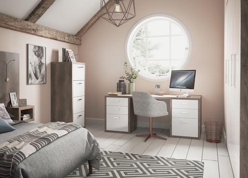Home Office Dark Oak & Gloss White Main