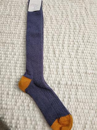 Chaussettes longues ardoise/moutarde