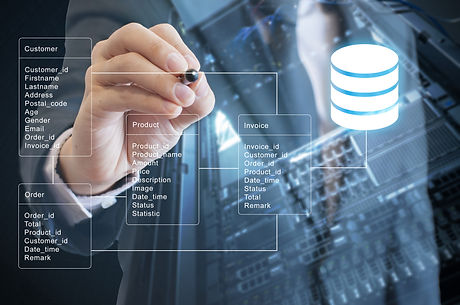 Double Exposure Of Professional Businessman System Analysis Design And Drawing Database Table With F