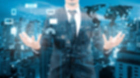 Double Exposure Of Professional Businessman Cloud Technology And Network Connection With Blurred Cit