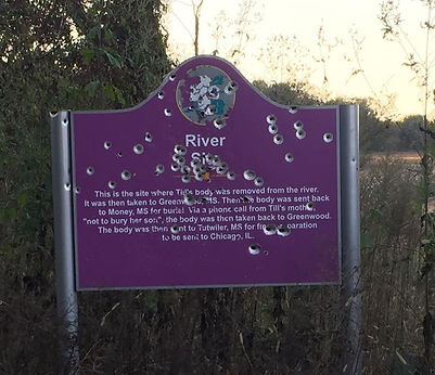 Emmett Till Memorial Commission vandalized commemorative sign at river site where Emmett Till's body was found
