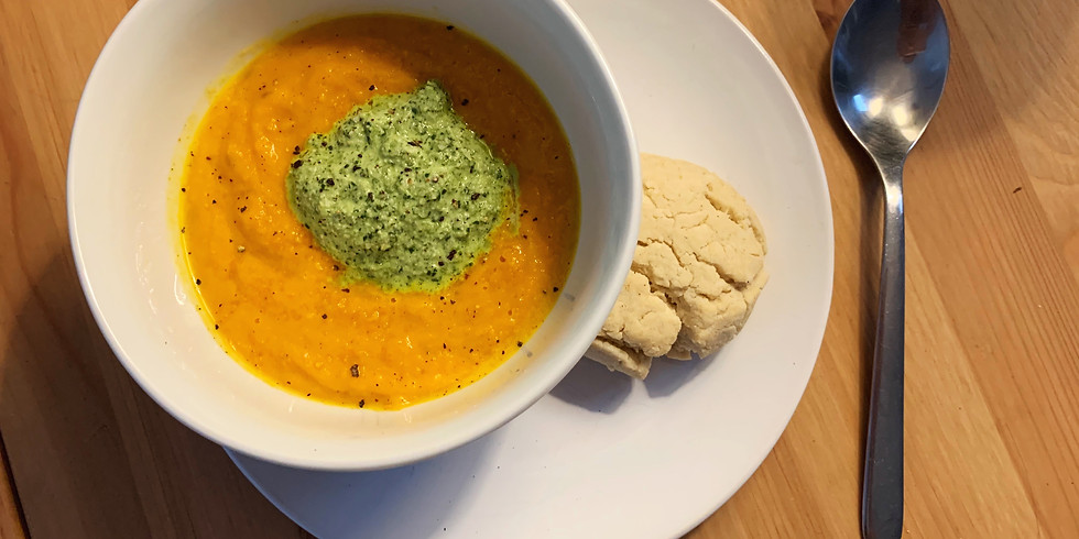 Ayurvedic Vegan Cooking Class - Carrot Ginger Soup with Carrot Top Pesto & Biscuits