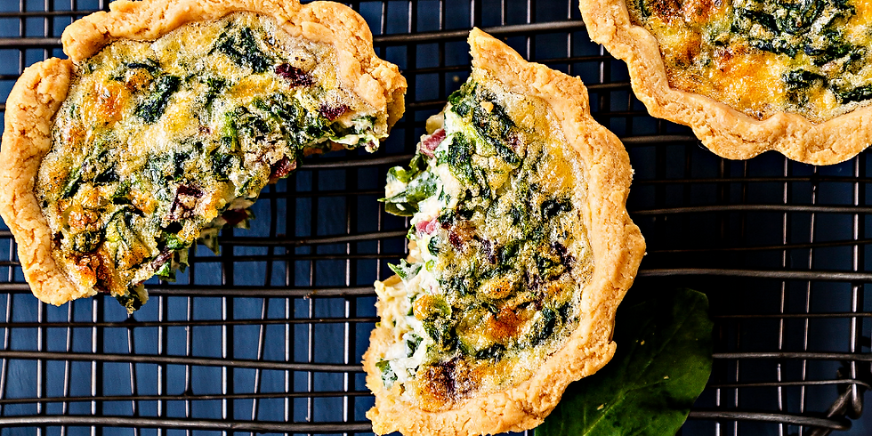 Mothers Day Brunch Special: Spinach Mushroom Quiche, Sweet Potato Hash + Virgin Blood Orange Mimosa