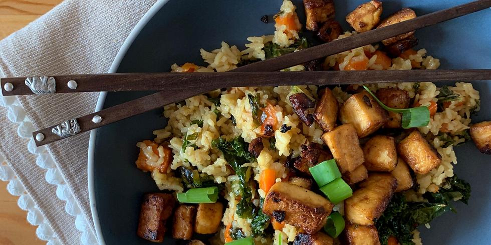 Mindful Cooking: Supergreen Stir Fried Rice w. Sesame Encrusted Tofu Steaks