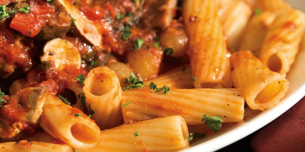 Italian Cuisine: Rigatoni, Fresh Tomato Sauce + Homemade Italian Sausages