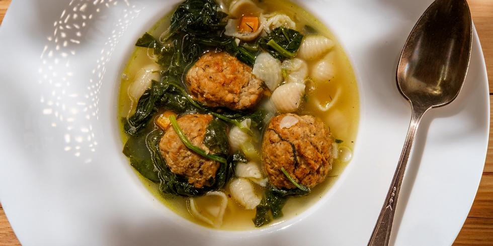 Italian Cuisine: Italian Wedding Soup w. Homemade Vegan Meatballs
