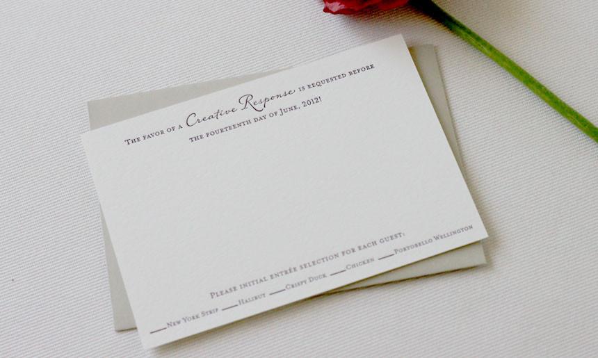 Peony Wedding Reply Card