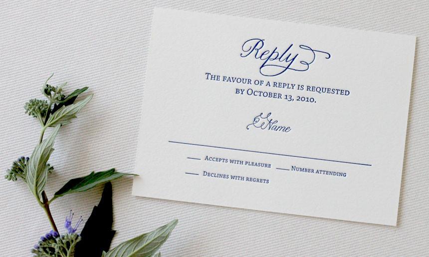 Classic Wedding Reply Card