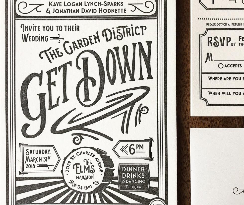 The Garden Distrist Get Down Wedding Invitation