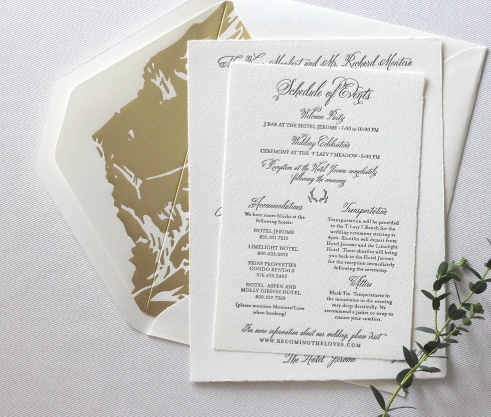 Aspen Love Wedding Invitation Details Card