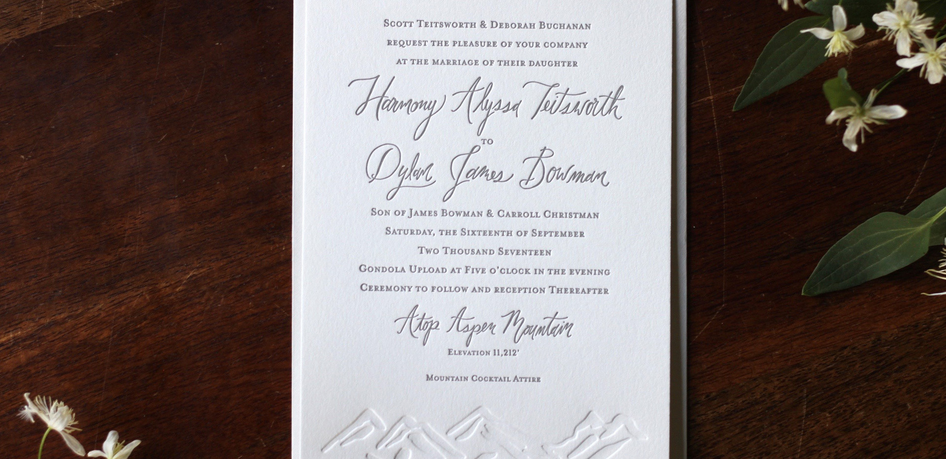 Aspen Mountain Top Wedding Invitation