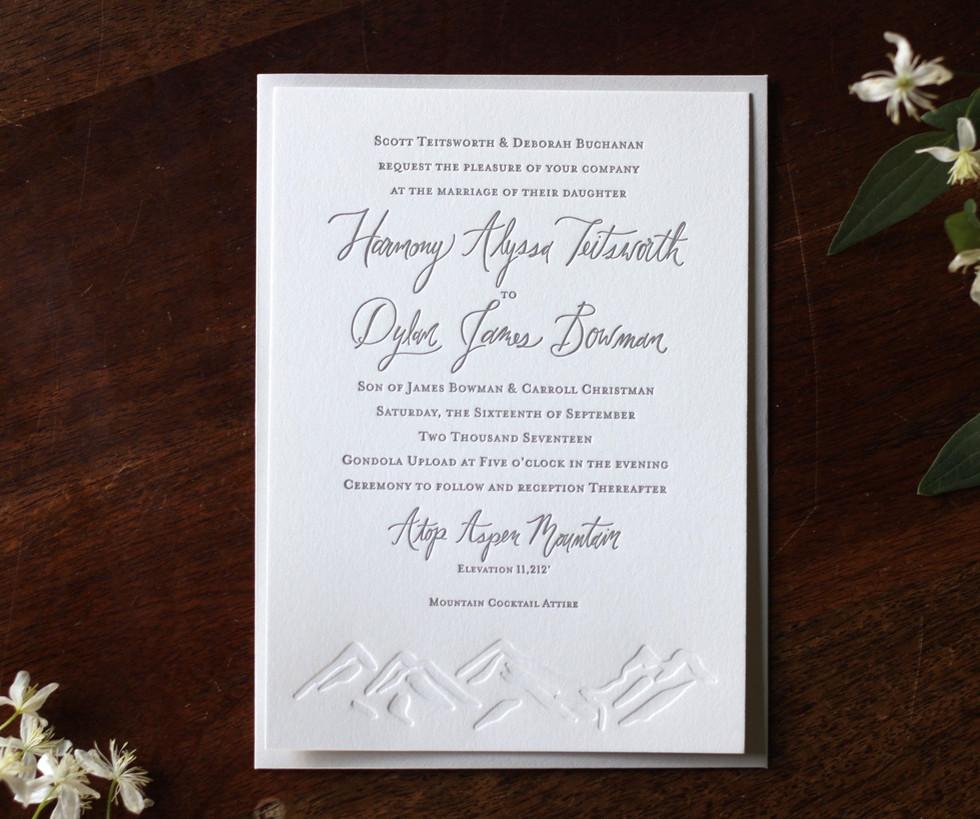 Aspen Mountain Top Wedding Invitation