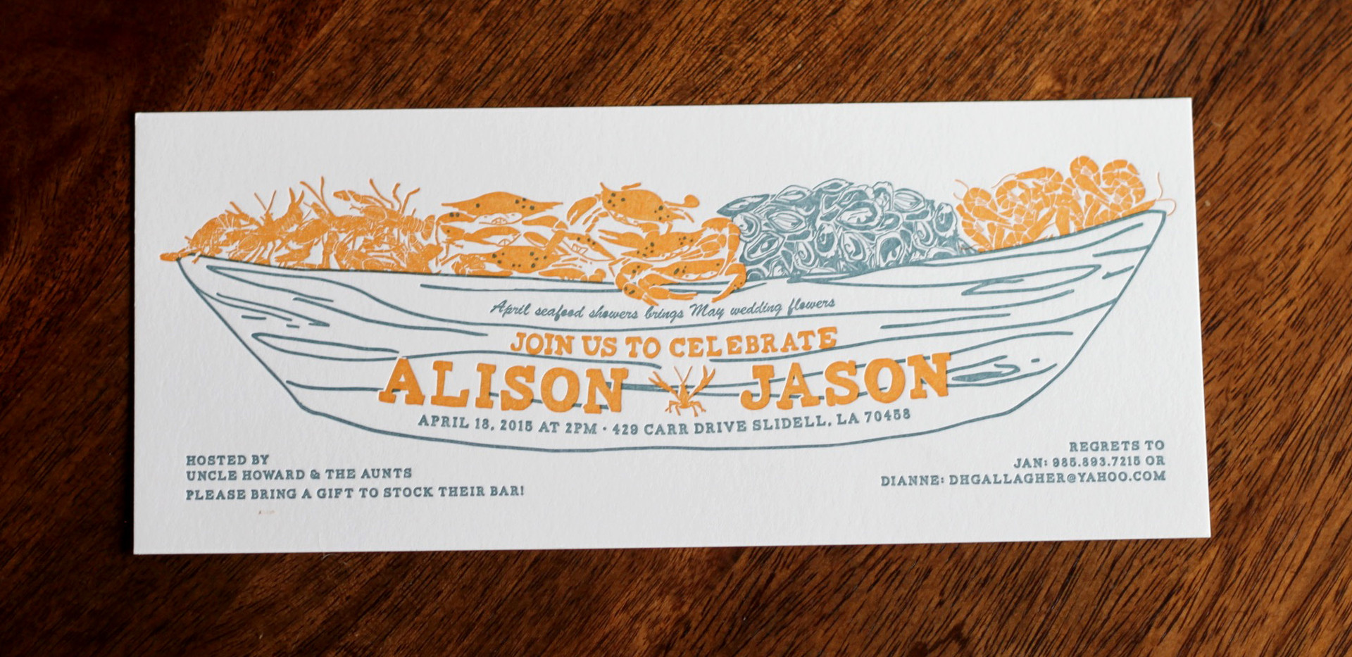 Pirogue Seafood Boat Invitation