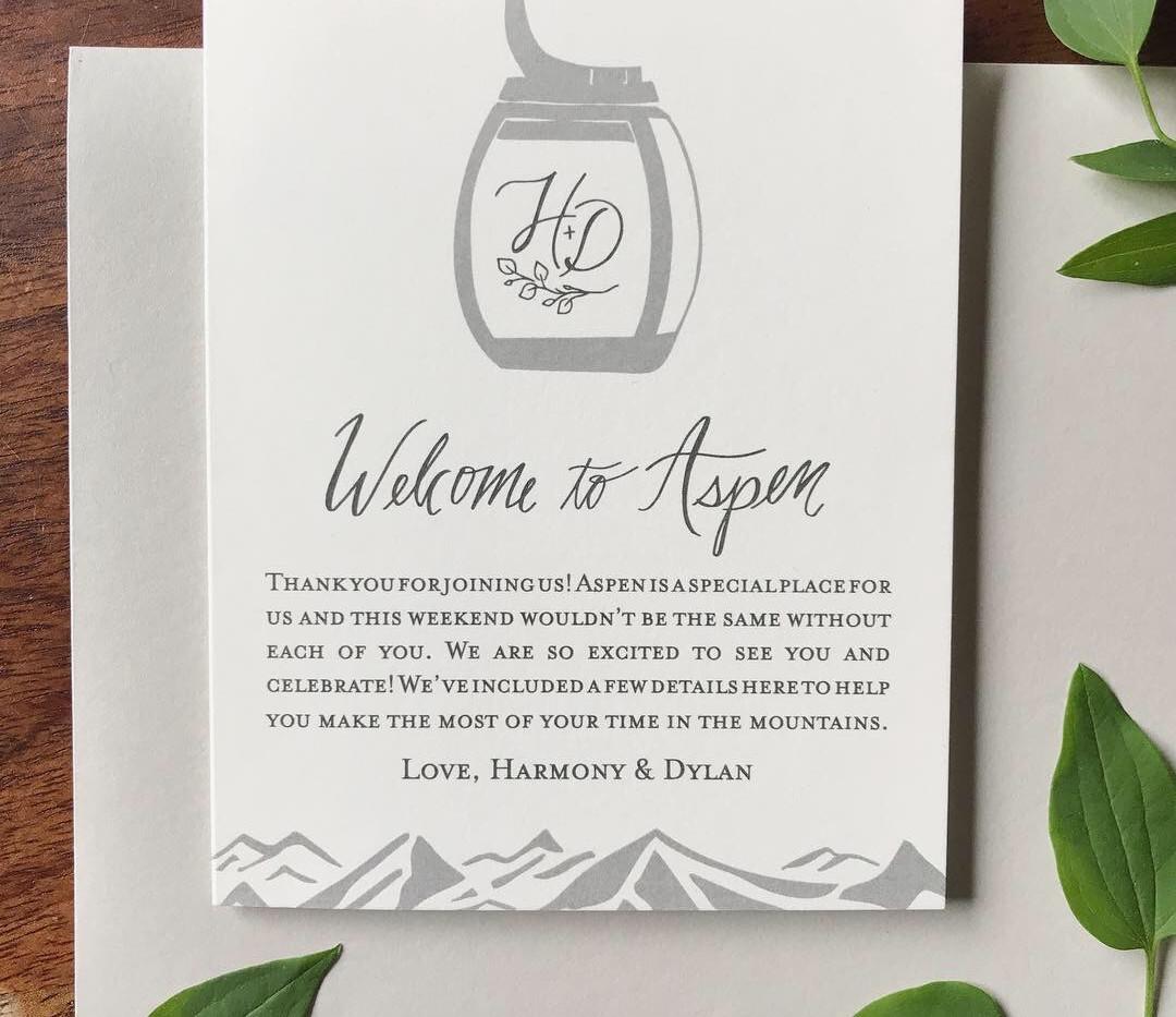 Aspen Mountain Top Wedding Welcome Cards
